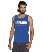 Blauw ijsland supporter singlet-shirt tanktop heren trend