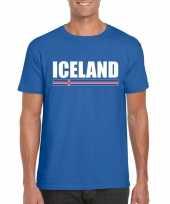 Blauw ijsland supporter t-shirt voor heren trend
