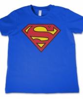 Blauw kinder t-shirt superman logo trend