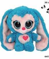 Blauw konijnen knuffeltje met muziek 20 cm trend