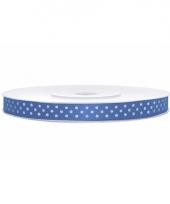 Blauw lint met witte stippen 6 mm trend