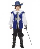 Blauw musketier pak voor kinderen trend