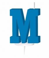 Blauw naam kaarsje letter m trend