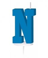 Blauw naam kaarsje letter n trend