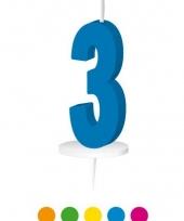 Blauw nummer kaarsje cijfer 3 trend