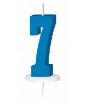 Blauw nummer kaarsje cijfer 7 trend