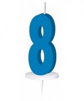 Blauw nummer kaarsje cijfer 8 trend