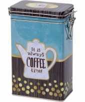 Blauw rechthoekig koffieblik bewaarblik met print 19 cm trend