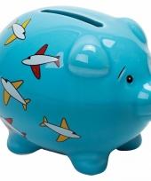 Blauw spaarvarken met vliegtuigen 9 cm trend