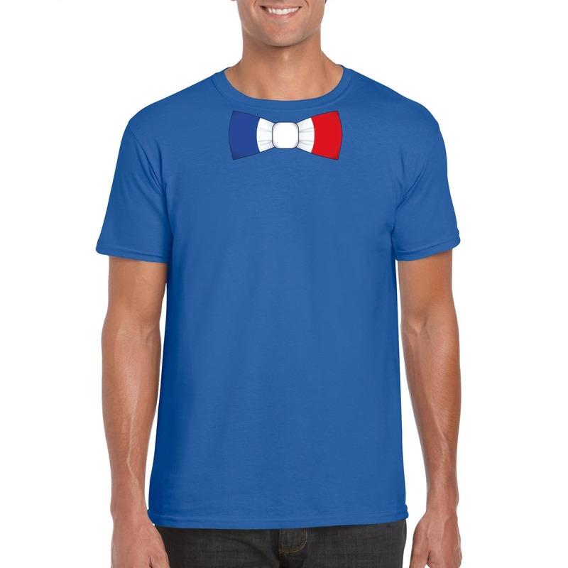 Blauw t-shirt met frankrijk vlag strikje heren trend