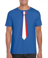 Blauw t-shirt met frankrijk vlag stropdas heren trend