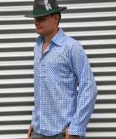 Blauw tiroler overhemd met ruitjes trend