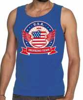 Blauw usa drinking team tanktop mouwloos shirt heren trend