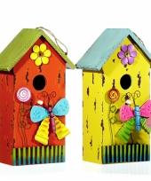 Blauw vogelhuisje van hout met vlinder 30 cm trend