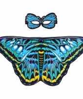 Blauwe aurelia vlinder verkleedset voor meisjes trend