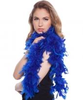 Blauwe boas met veren 180 cm trend