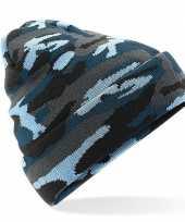 Blauwe camouflage gebreide wintermuts voor volwassenen trend