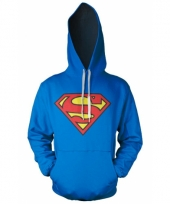 Blauwe capuchon sweater superman logo trend