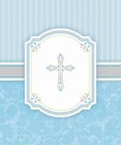 Blauwe communie servetten 33 x 33 cm trend