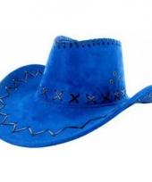 Blauwe cowboyhoed met zwarte stiksels trend