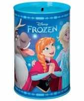 Blauwe dsiney frozen spaarpot blik 15 cm voor meisjes trend