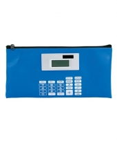 Blauwe etui met rekenmachine trend