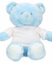 Blauwe geboorte knuffelbeer 28 cm met-shirt trend