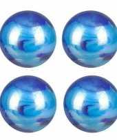 Blauwe glazen knikkers 4 stuks trend