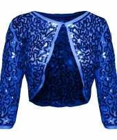Blauwe glitter pailletten disco bolero jasje dames trend