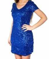 Blauwe glitter pailletten disco jurkje dames trend