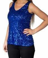Blauwe glitter pailletten disco topje mouwloos shirt dames trend