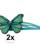 Blauwe haarspeldjes houten vlinder trend