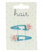Blauwe haarspeldjes met roze sterren 2 stuks trend