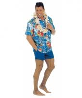Blauwe hawaii blouse voor volwassenen trend