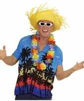 Blauwe hawaii verkleed blouse met palmboomprint voor heren trend
