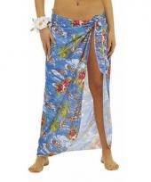 Blauwe hawaii verkleed sarong rok voor dames trend