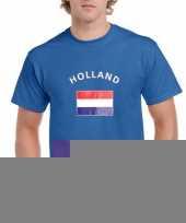 Blauwe heren shirts met vlag van holland trend