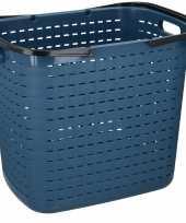 Blauwe hoge kunststof wasmand 45 liter trend