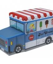 Blauwe ijscowagen opbergbox 55 cm trend
