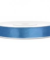 Blauwe kadolinten van satijn 12 mm trend
