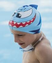 Blauwe kinder badmuts met vissen trend