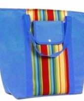 Blauwe koeltas met gekleurde strepen 30 l trend