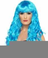 Blauwe krullenpruik dames trend