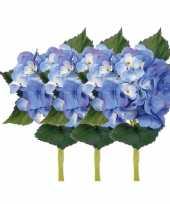 Blauwe kunst hortensia met steel 48 cm trend