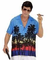 Blauwe maffiabaas verkleed blouse met palmboomprint voor heren trend