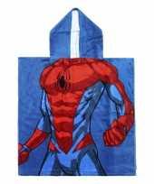 Blauwe marvel spiderman badcape met capuchon voor jongens trend