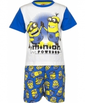 Blauwe minion powered korte pyjama jongens trend