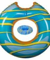 Blauwe opblaasbare donut zwemband en drankhouder trend