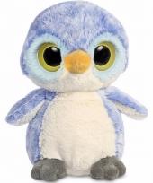 Blauwe pinguin knuffel 28 cm met grote ogen trend
