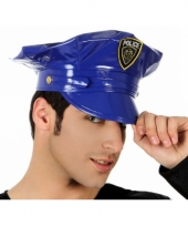 Blauwe plastic politie pet trend